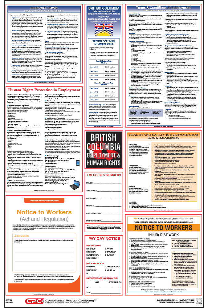 British Columbia Labor law compliance Poster