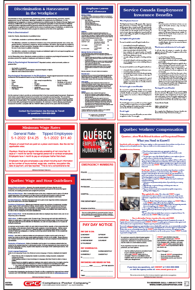 Quebec Labour Law Poster
