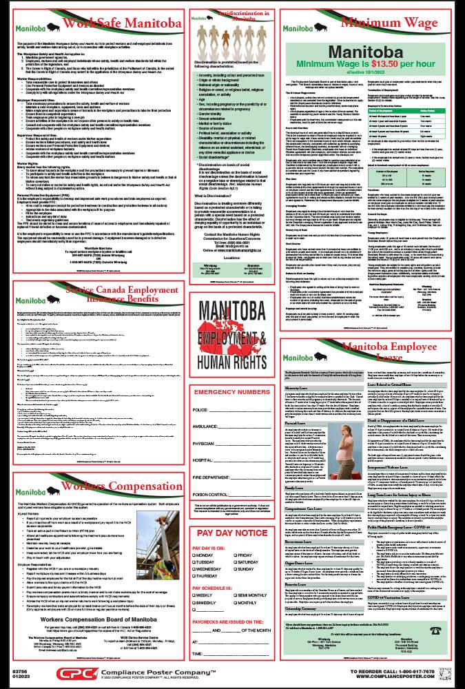 Manitoba Labor law compliance Poster