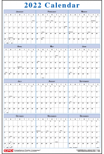 Blue Vertical 12-Month Calendar