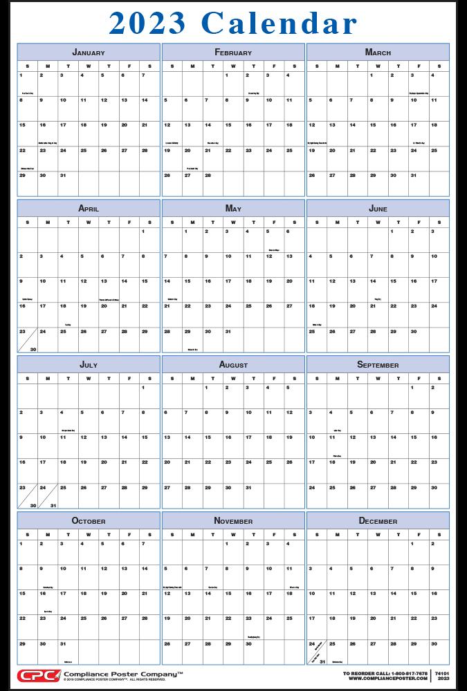 Blue Vertical 12-Month Calendar