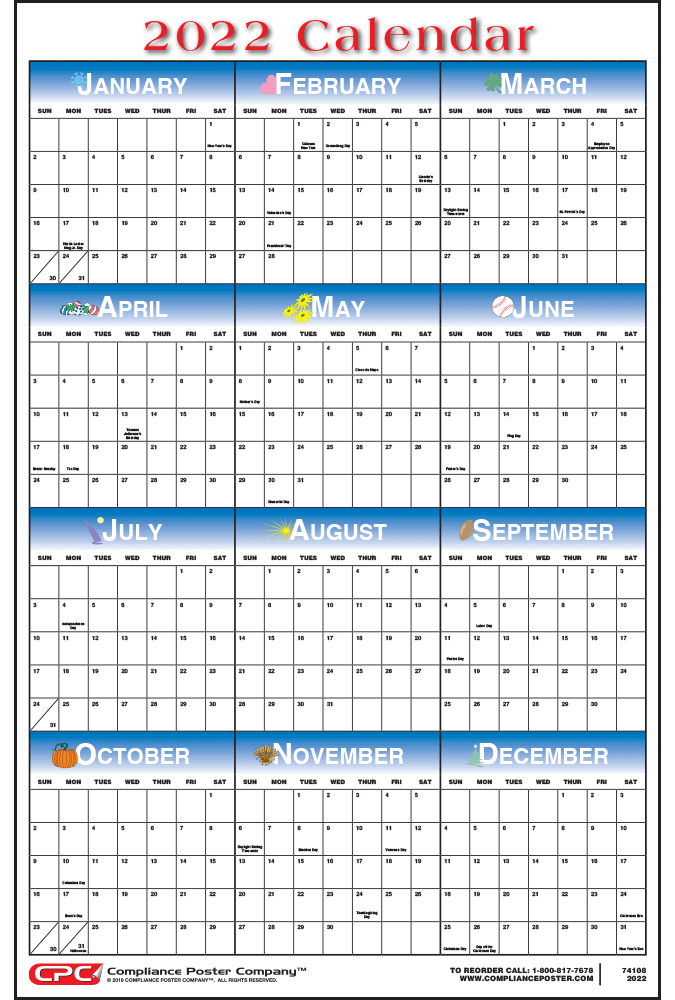 Holiday 12-Month Calendar