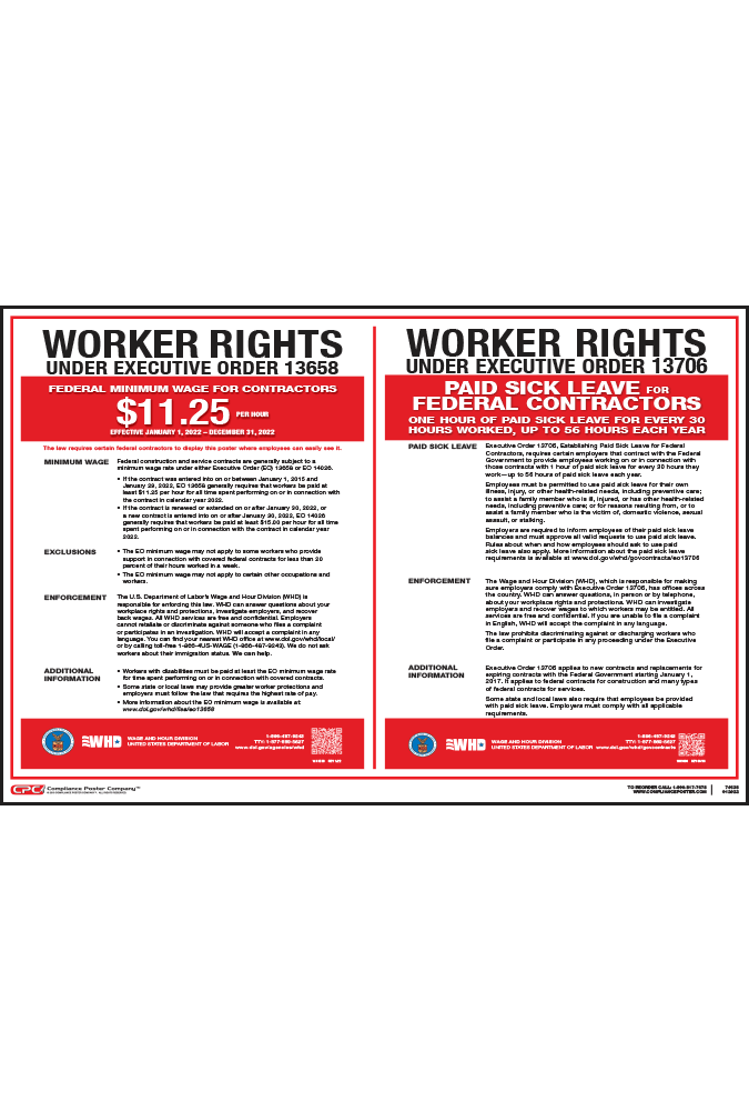 Federal Contractor Minimum Wage Poster