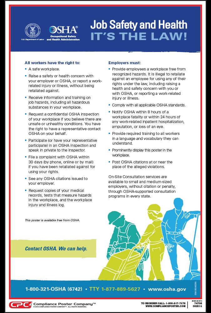 OSHA Job Safety and Health Poster