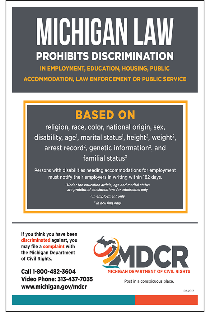 2017 Michigan Law Prohibits Discrimination Peel 'N Post
