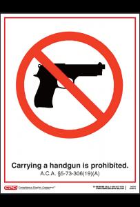 Arkansas Handgun Prohibited Poster