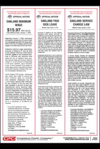 Oakland California Minimum Wage Poster