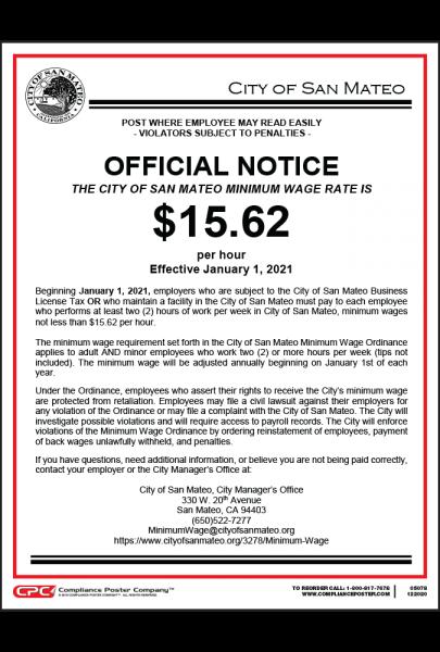 San Mateo, CA Minimum Wage Poster