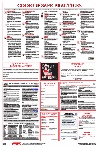 California Osha Code Of Safe Practices Poster Compliance