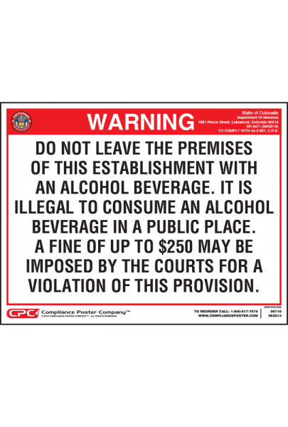 Colorado On-Premises Alcohol Warning Poster - General Licensee