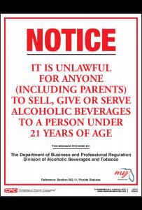 Florida Alcohol Under 21 Poster