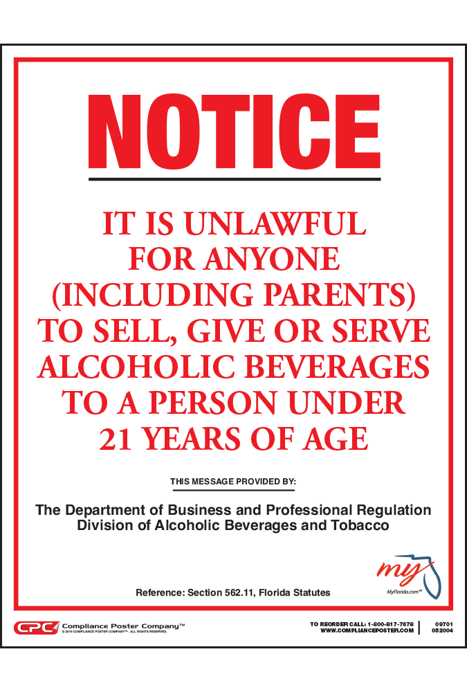 Company Compliance Alcohol Poster 21 Florida Under -