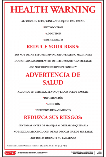 Miami-Dade County Alcohol Health Warning Poster