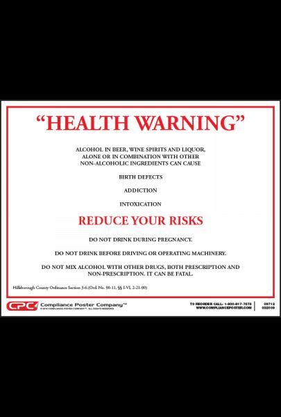 Hillsborough County Alcohol Health Warning Poster