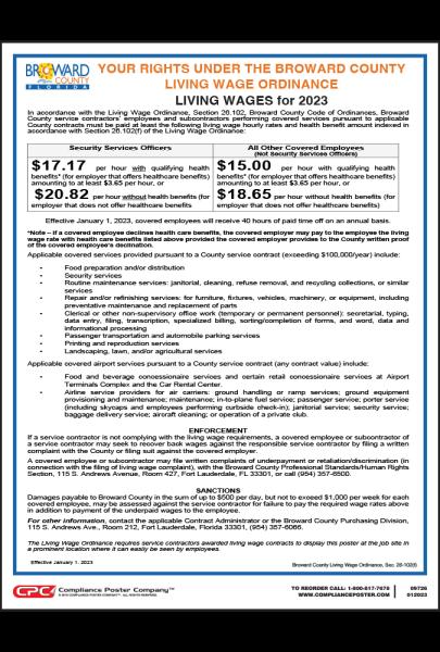 Broward County Living Wage Poster
