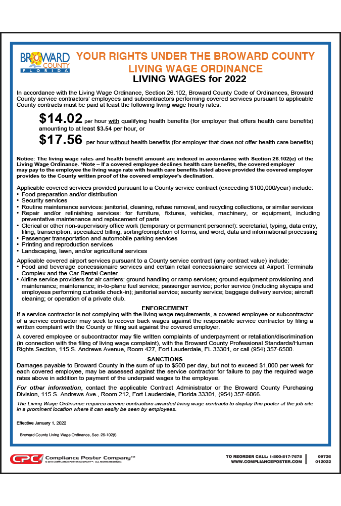 2019 Broward County Living Wage Poster