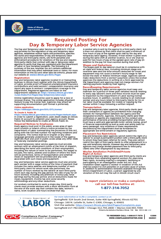 Illinois Day and Temporary Service Poster - English