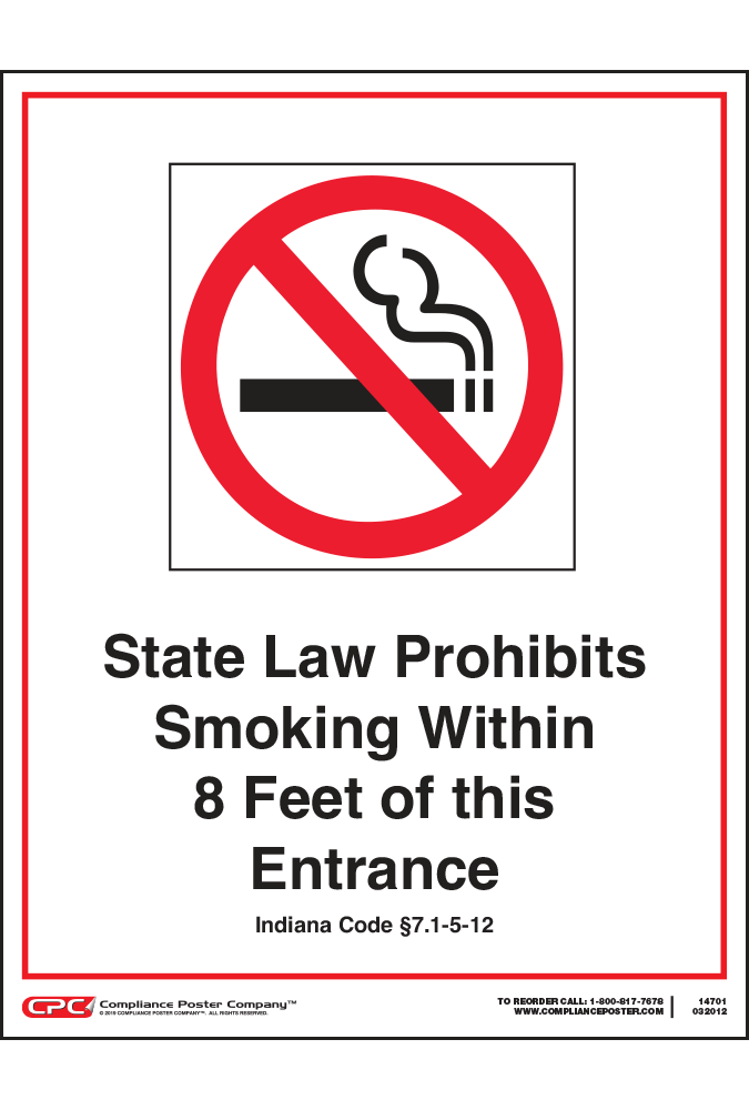 Indiana No Smoking Poster
