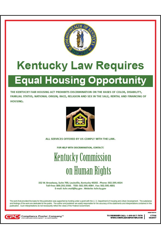 Kentucky Fair Housing Poster Free Shipping 50 Orders
