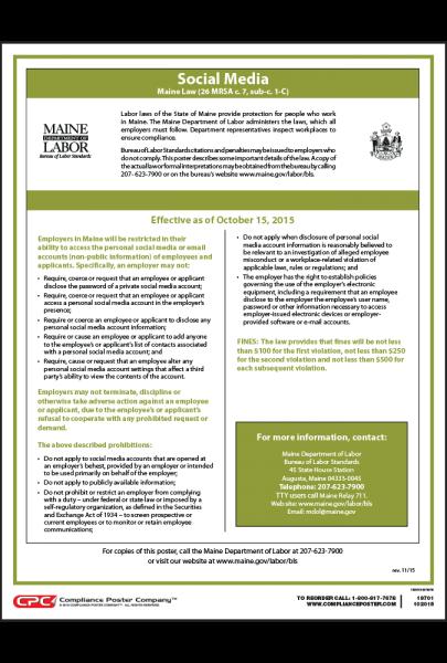 Maine Social Media Law Poster