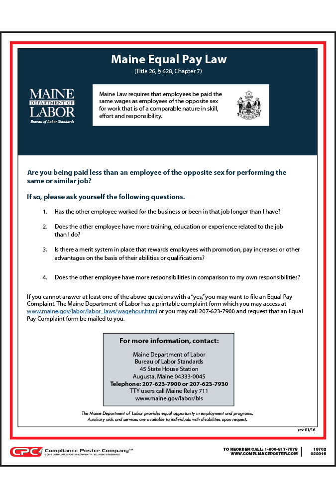 Maine Equal Pay Law Poster