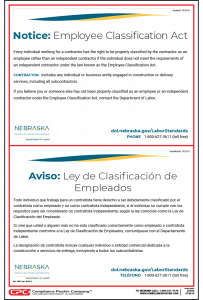 Nebraska Employee Classification Act Poster