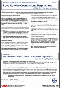New Jersey Food Service Occupations Regulations