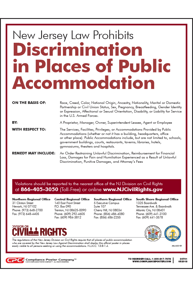 New Jersey Official Public Accommodation Poster