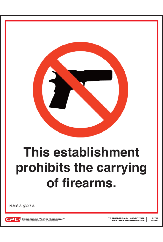 New Mexico No Firearms Poster