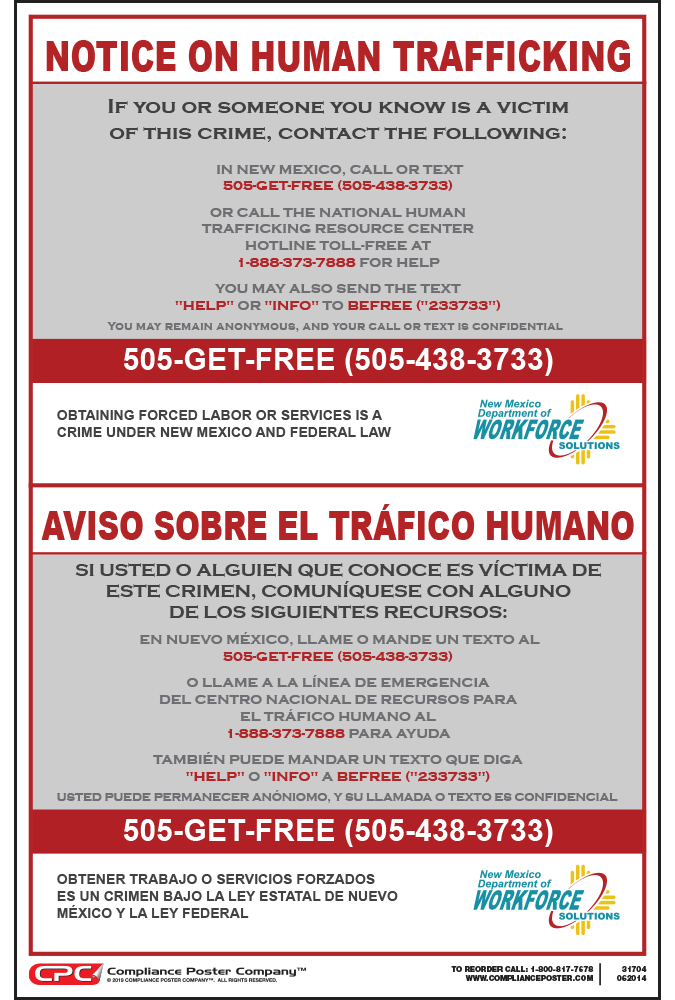 New Mexico Human Trafficking Poster
