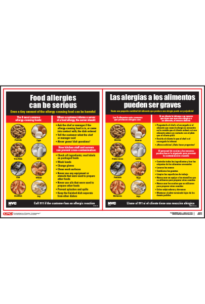 City Of New York, NY Food Allergy Poster
