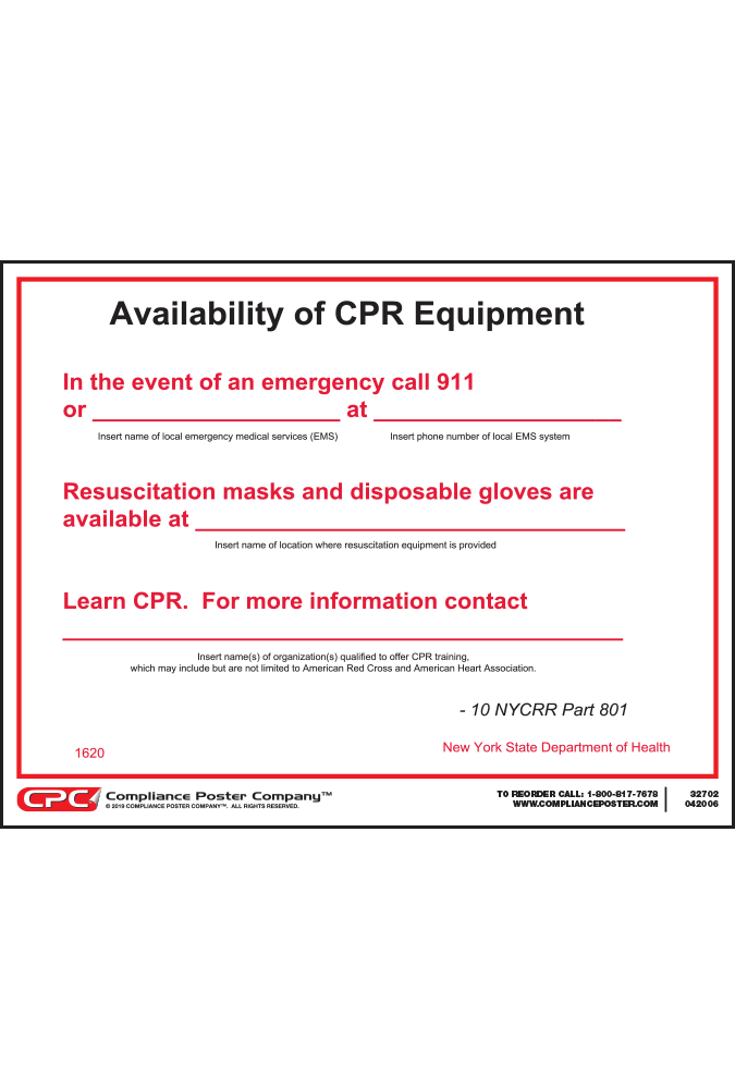 New York CPR Notice to Patrons