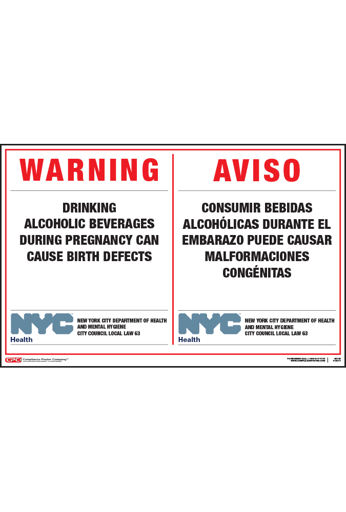 Of City Alcohol York New Warning Poster Pregnancy