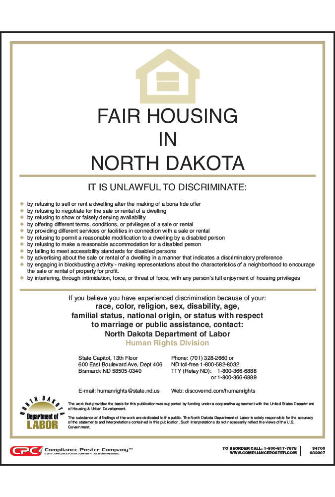 North Dakota Fair Housing Poster