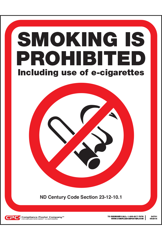 North Dakota Smoking Prohibited Poster