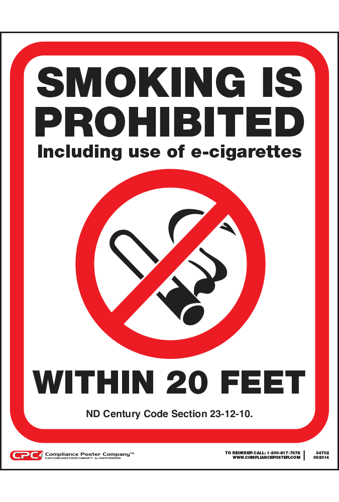 North Dakota No Smoking 20 Feet Poster