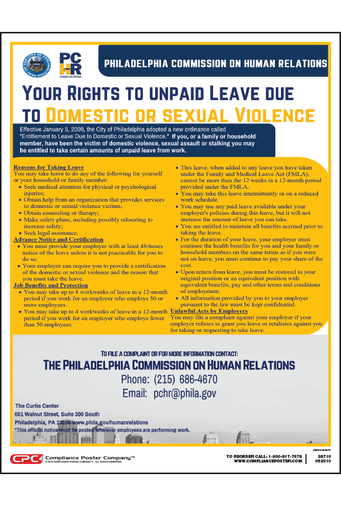 Philadelphia Entitlement to Leave Due to Domestic or Sexual Violence Poster