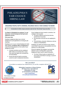 Philadelphia Fair Chance Hiring Law Poster