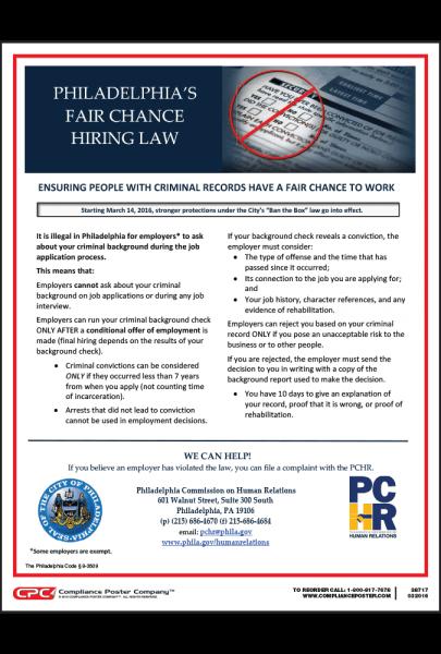 Philadelphia Fair Chance Hiring Law Poster