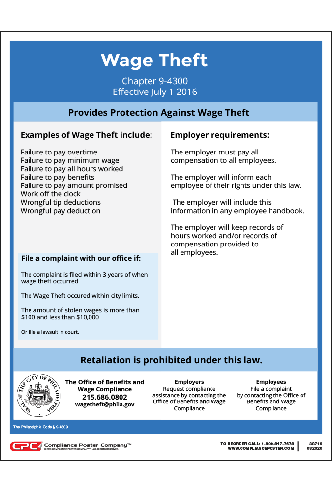 Philadelphia Wage Theft Law Poster