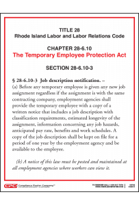 Rhode Island Temporary Employee Protection Act Poster