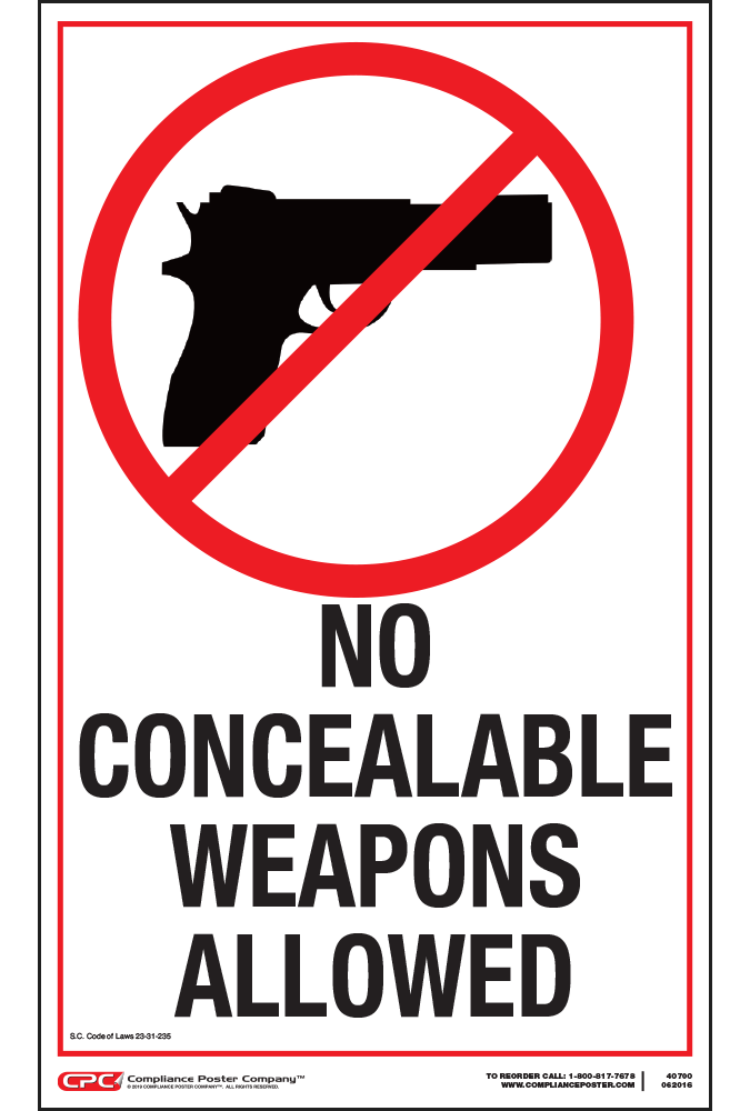South Carolina No Weapons Poster