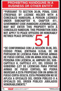 Texas Bilingual Hand Gun 51 Poster