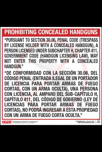 Texas Bilingual Handgun Poster
