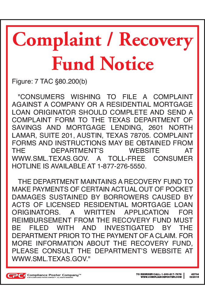 Texas Complaint/Recovery Fund Notice