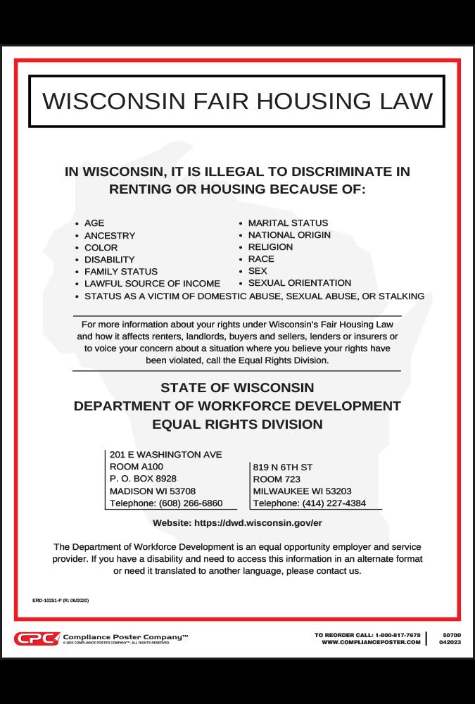 Wisconsin Fair Housing Poster