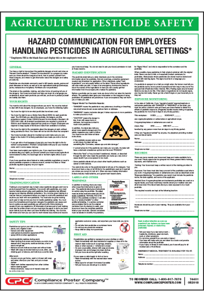Agriculture Pesticide Safety Poster