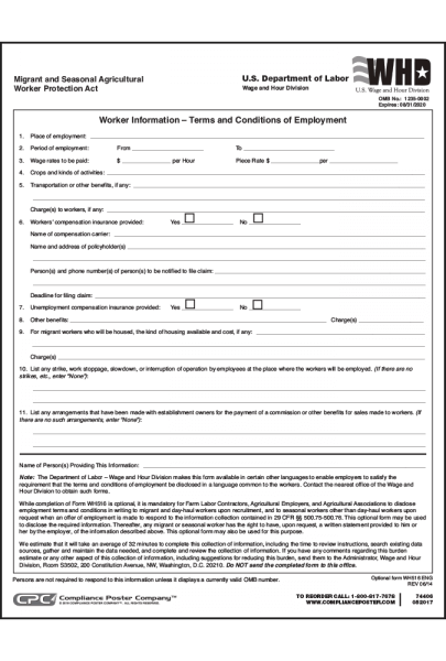 Agricultural Employment Terms Form - 20 Sheets Per Pack