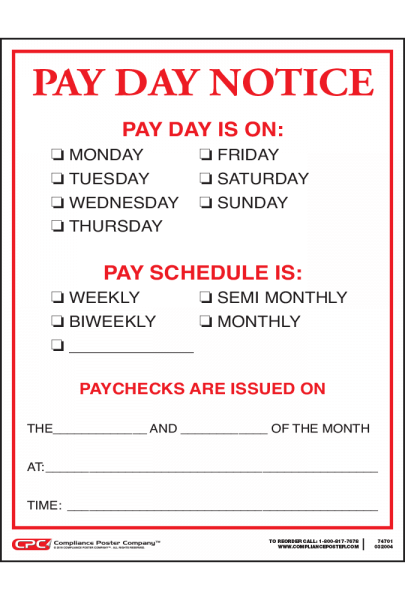 Pay Day Notice
