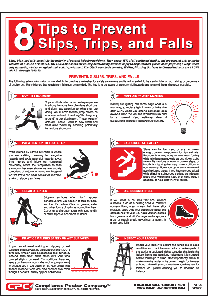 Slips Trips and Falls - Fall Prevention Poster